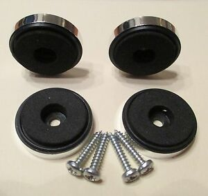 A-Set-of-4-x-Chrome-Isolation-Feet-30-mm-x-8-mm-Complete-with-Screws
