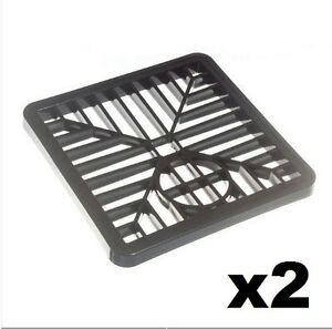 2 x BLACK PLASTIC SQUARE DRAIN GULLEY GRID COVER 150MM 6 INCH (2 PACK) 1998371002855