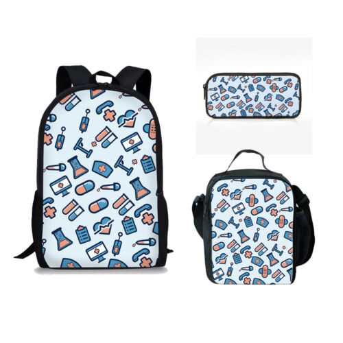 Infirmière de style sac à dos bleu épaule école Sacs Thermique Lunch pencil case