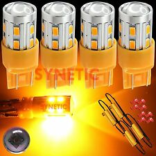4X7443 High Power CREE Amber/Yellow 5630 Turn Signal LED Light Bulbs+4 Resistors