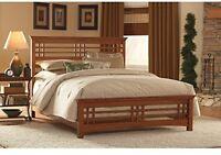 Queen Size Bed Frame Oak Wood Mission Style Headboard Footboard Bedroom