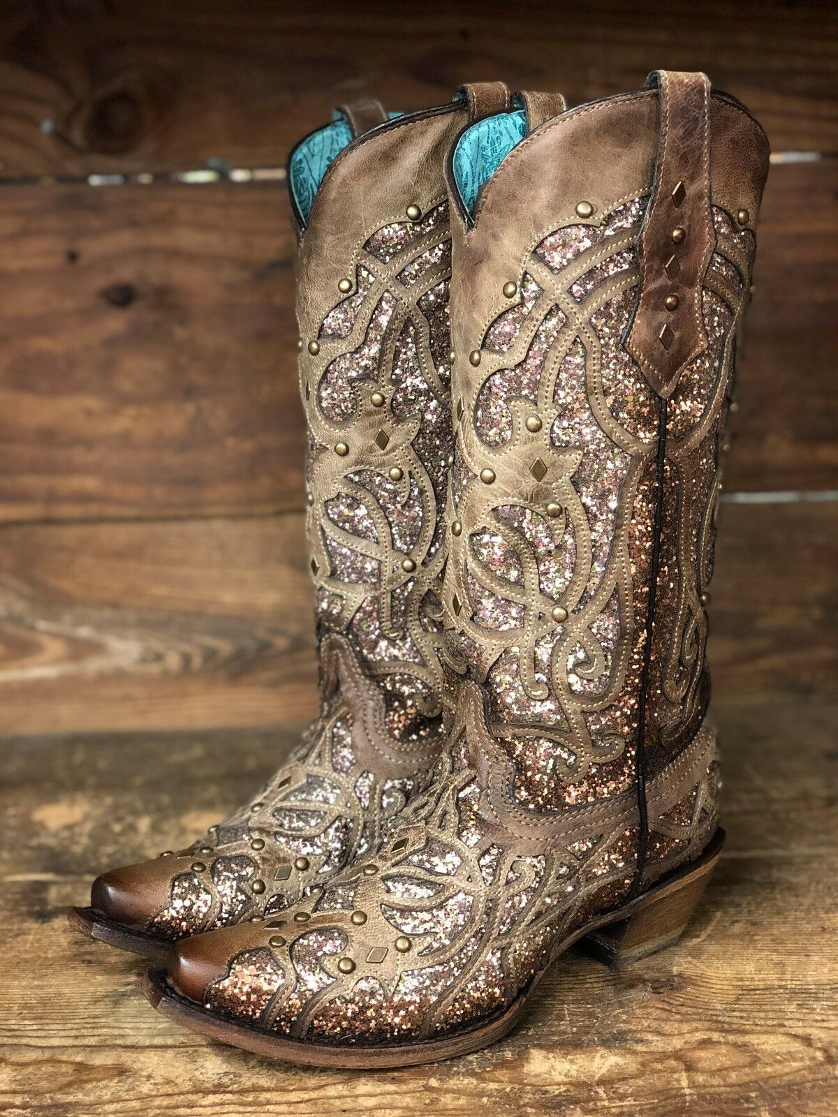 Corral Women's Orix Brown Glittered Inlay & Studs Snip Toe Boots C3331