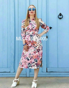 ccb9f91612 Details about ZARA FLORAL PRINT SHIRT DRESS BELT PINK MIDI LONG SLEEVES  SIZE S REF. 2836/829