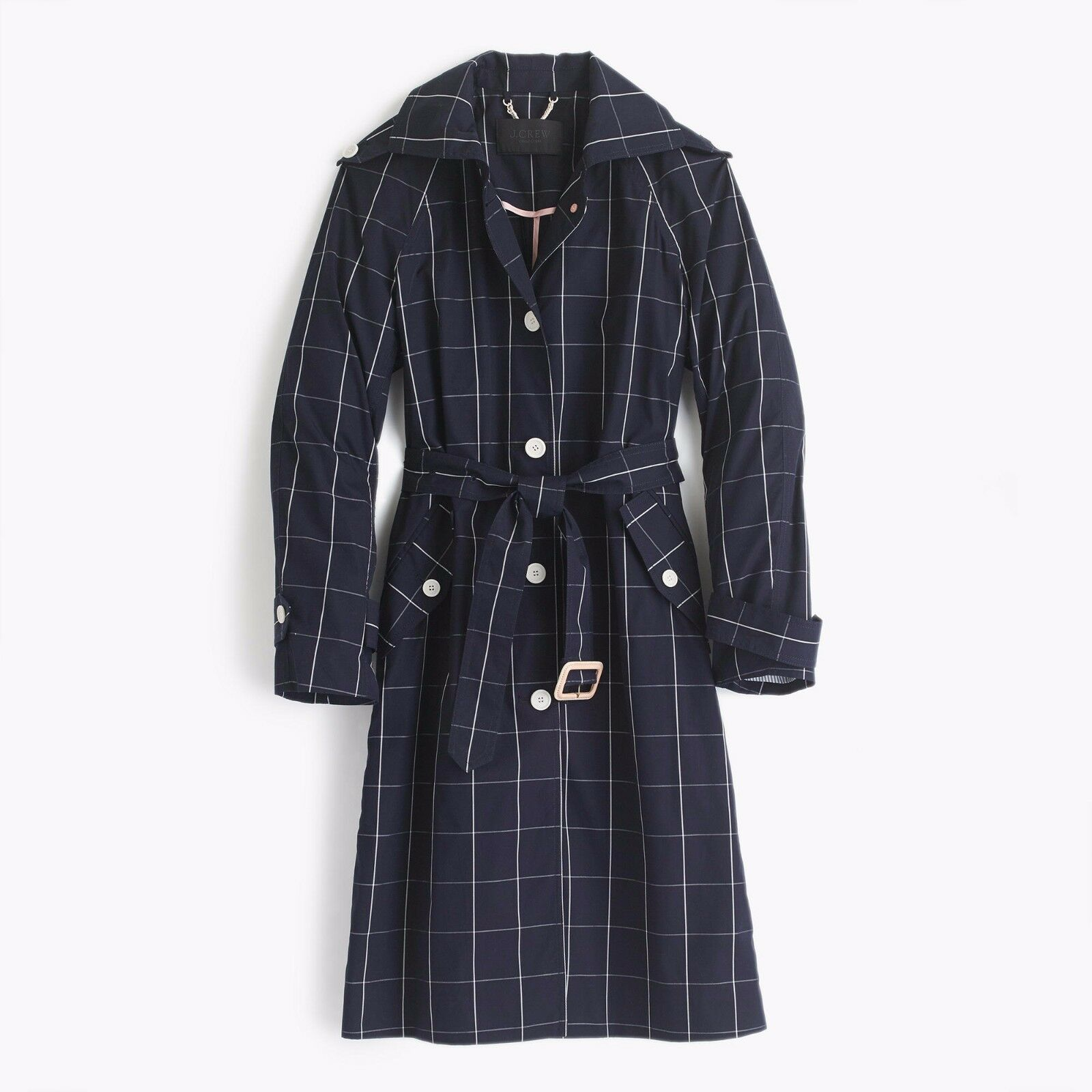 d08e8f5ab5d New J.Crew Belted COAT Navy Windowpane 0 G2383 J Crew TRENCH Collection  narrac6446-Coats