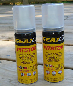 2-Geax-Pit-Stop-Latex-Tire-Sealant-Inflator-Cans-50ml-Each-Brand-New