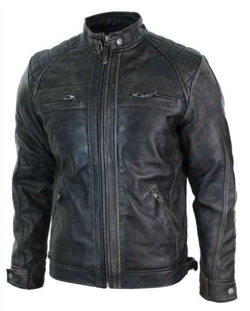 Men's Biker Vintage Motorcycle Distressed Black Cafe Racer Leather Jacket