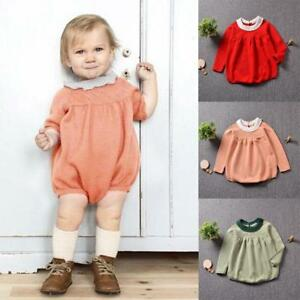 d570eb51d26e Toddler Baby Kids Girls Winter Fall Long Sleeve Knitting Romper ...