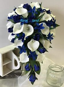 TEARDROP WEDDING BOUQUET SILK BOUQUETS LATEX WHITE CALLA LILY ROSE ...