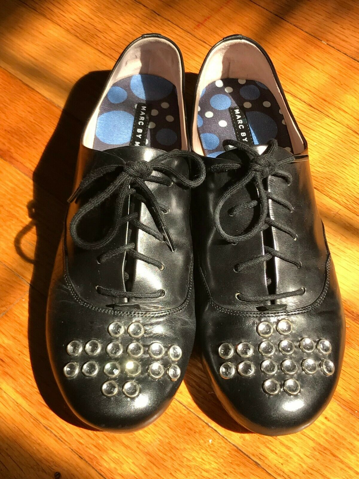 Marc By Marc Jacobs nero Leather Jeweled Crystals Lace Up Flats Oxfords 38   7