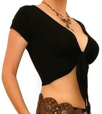 New Black Stretchy Tie Front Shrug / Wrap - Short Sleeve