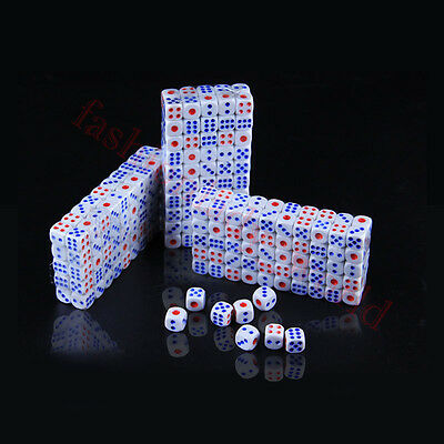 Set of 10 Six Sided D6 10mm Standard Dice Die - White Colors Pips Wholesale