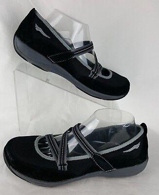 Dansko Size 40 Mary Jane Hazel 9.5-10 Us Black Suede Mesh Flats Comfort Comfort Shoes