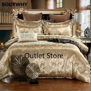 2-3-4pcs-Luxury-Jacquard-Queen-King-Duvet-Cover-Set-Imitation-Silk-Bedding-Sets
