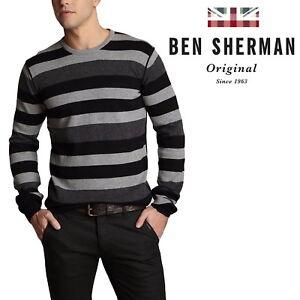 Ben-Sherman-Striped-Classic-Mens-Sweater-Crew-Neck-Cardigan-Grey-amp-Black-Jumper