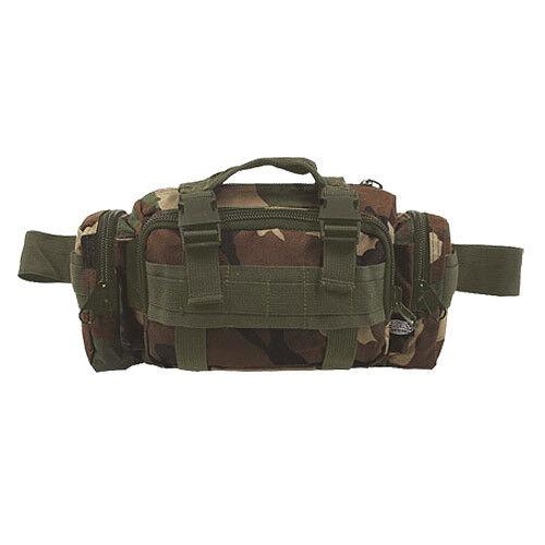 MILITARY WAIST HIP PACK SHOULDER BAG 7 POCKETS HIKING TRAVELLING WOODLAND CAMO
