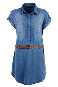 Ladies-Denim-Shirt-Dress-Includes-Free-Belt-100-Cotton-Casual-BARGAIN