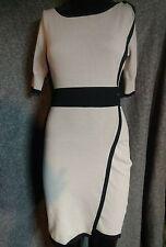 Karen Millen Womens Grey/ Black  Sheath Dress Color block Soft Stretch  Sz 2 EUC