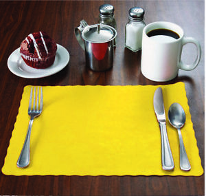"""10/""""x14/"""" place mats 1000 Raise® Red Paper Placemats,Scalloped Edge Disposable"""