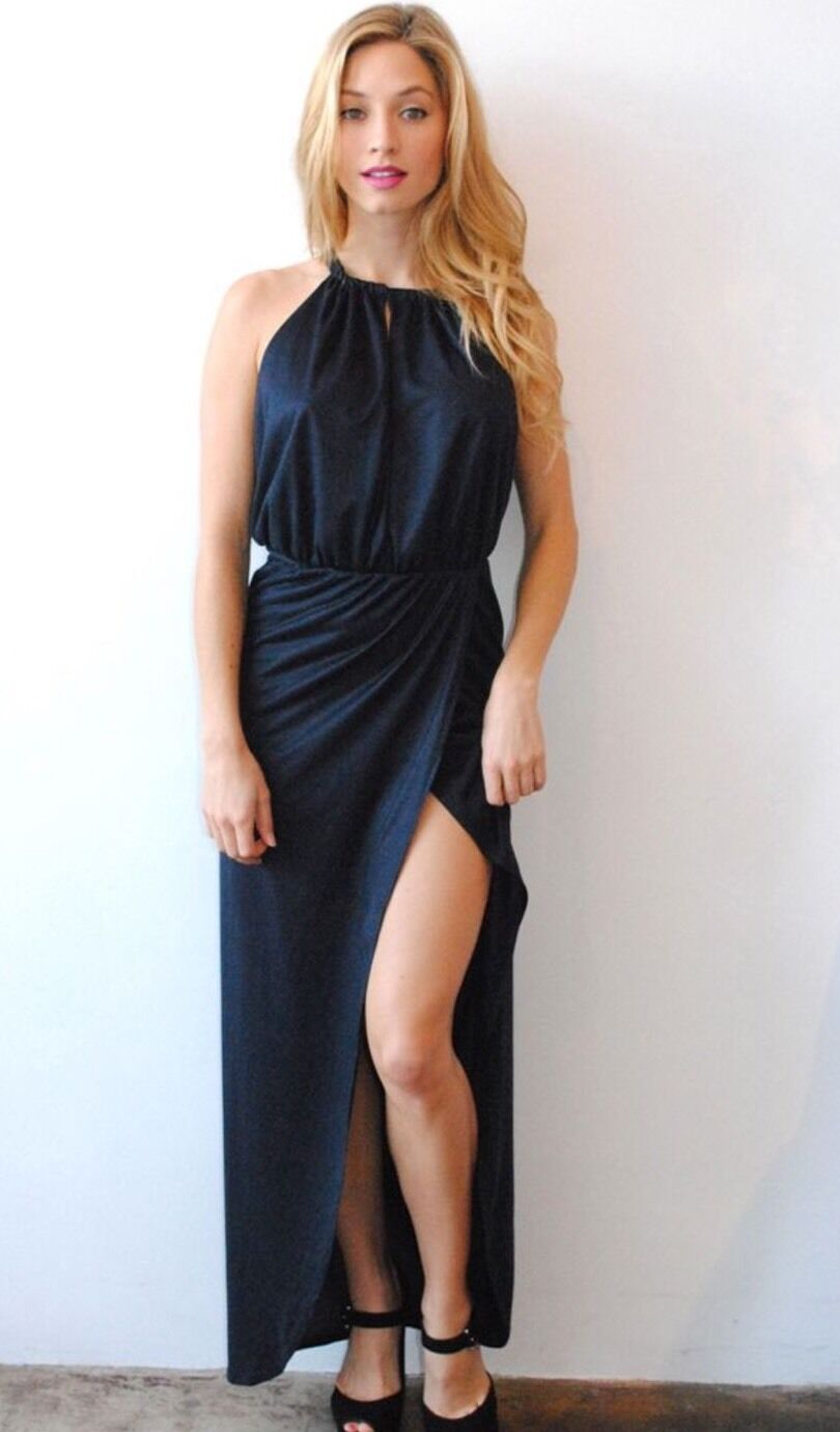 NWT Nightcap Clothing Vegan Suede Navy bluee Gown Maxi Dress Size 3