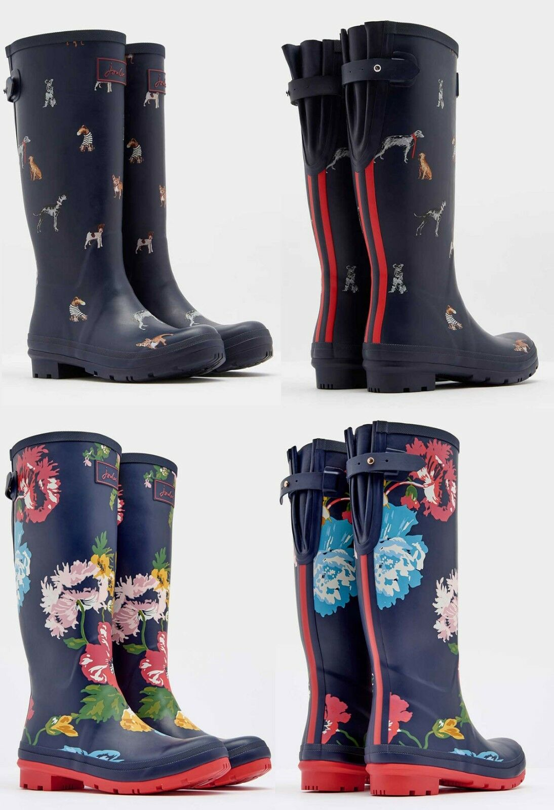 Joules Ajusta Back Gusset Welly - French Navy Posy, French Navy Chic Dog