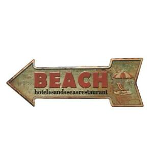 Arrow-Shaped-Antique-Cast-Iron-Metal-Sign-with-034-Sand-Beach-034-Art-Decor-Plaque
