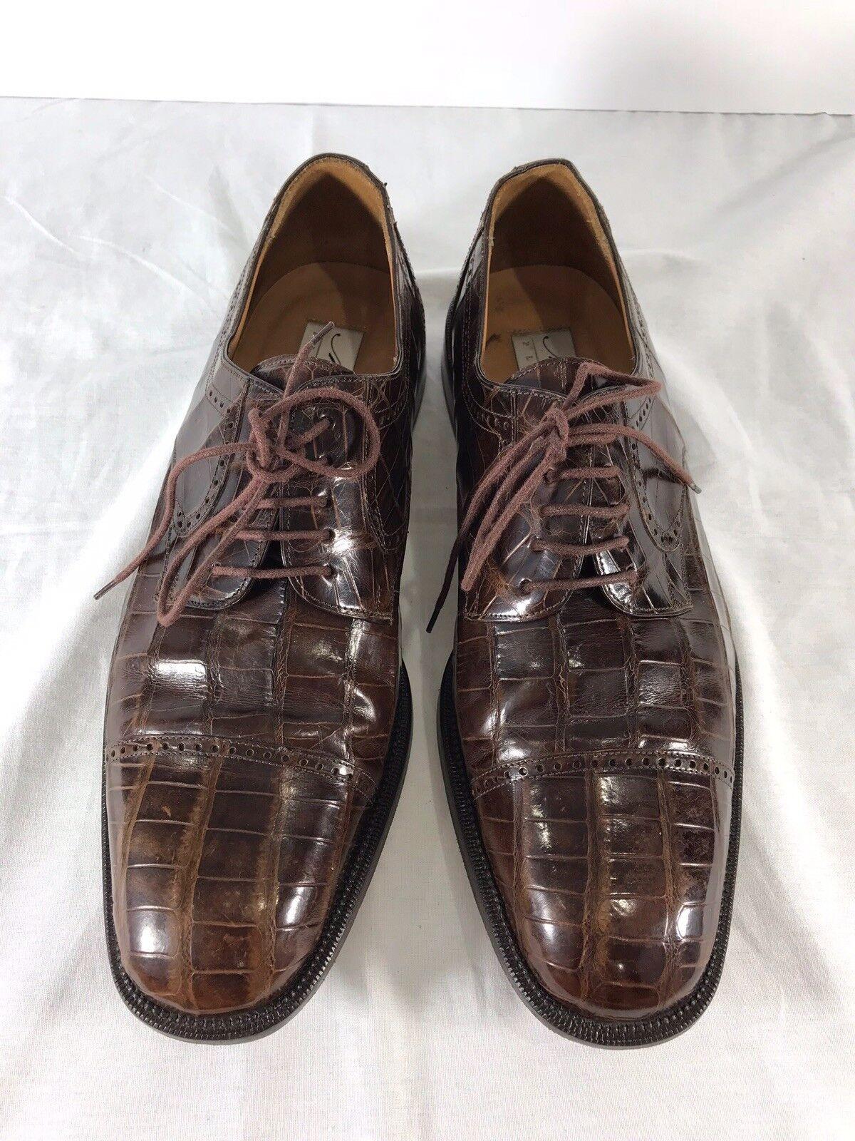 MEZLAN Platinum Brown Alligator Mens shoes 11US Made in Spain