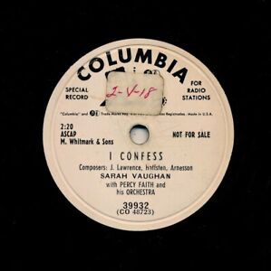 SARAH-VAUGHAN-on-1953-Columbia-39932-I-Confess-A-Lover-039-s-Quarrel