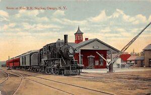 D11-Owego-New-York-NY-Postcard-c1910-Erie-Railroad-Depot-Station