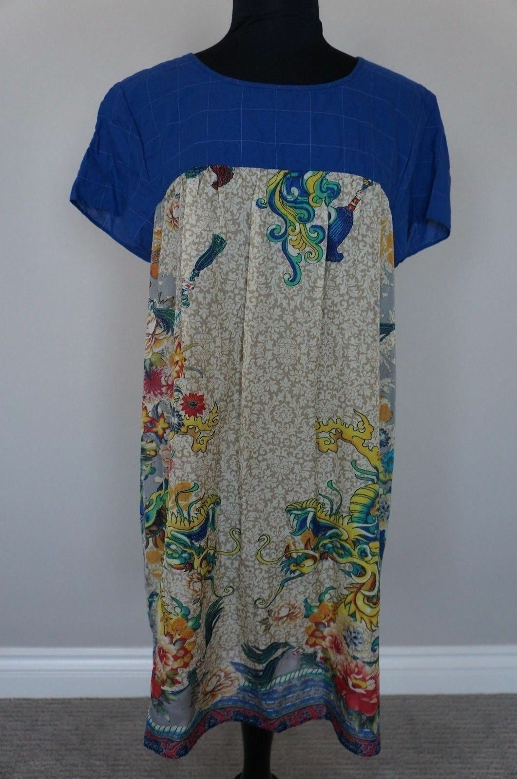 NEW Johnny Was 3J Silk Print & Plaid Yuki Peasant Tunic Top Blouse Dress S
