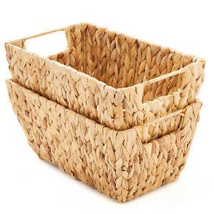 Set of 2 Rectangular Water Hyacinth Storage Baskets with Handles
