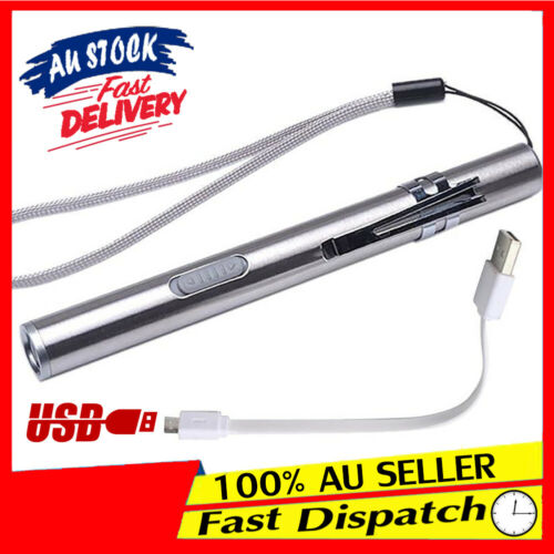 USB Rechargeable Flashlight Mini Torch Light Pen Glare Stainless Steel LED