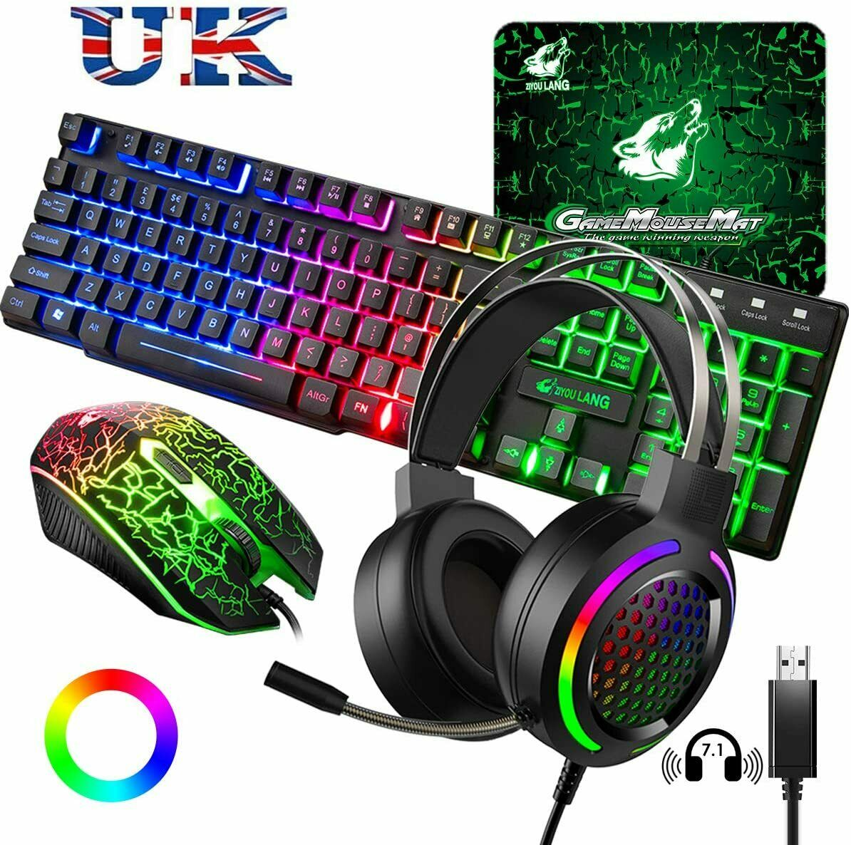 UK Xbox PS4 Wired Gaming Keyboard + Headset + Mouse + Mice Pad, Rainbow Backlit