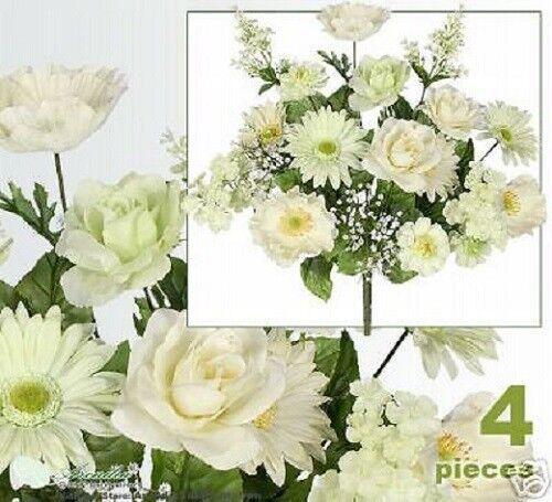 "4 Poppy Daisy Rose 20/"" Silk Flower Arrangement Wedding"