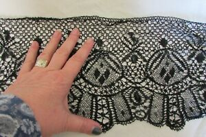 Beautiful-Antique-French-Length-Extra-Wide-Le-Puy-Black-Lace-36-034-3ft-c1880