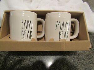 RAE DUNN MAMA BEAR PAPA BEAR MUG SET New