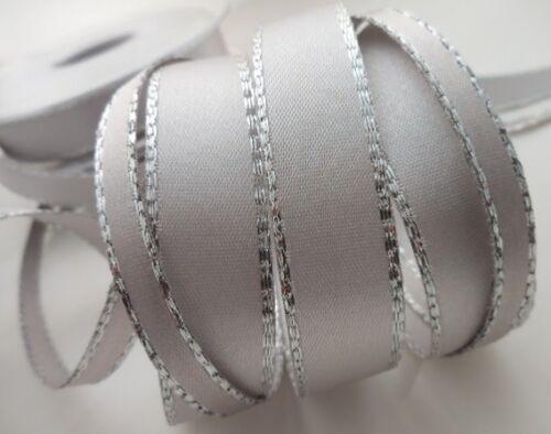 BORDE de plata 7 mm Cinta De Raso 12 tonos 3 longitudes por Berisfords