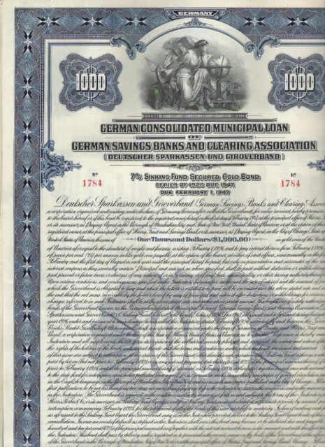 Deutscher Sparkassen- und Giroverband, 1926, 1000$ Gold Bond