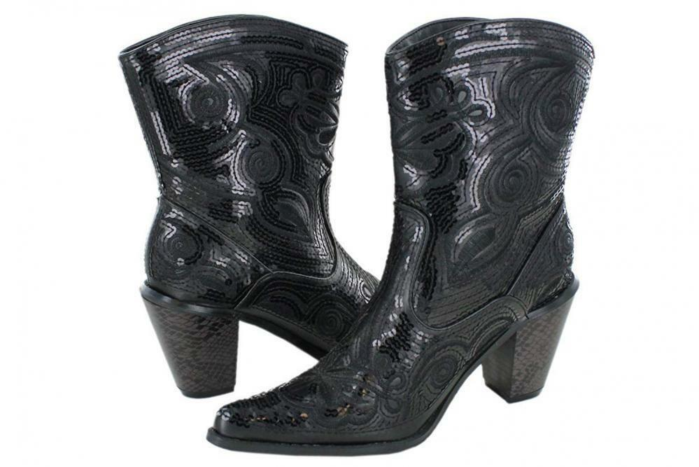Helens Heart Women's Sparkle Sequin Bling Short Western Cowgirl Boots