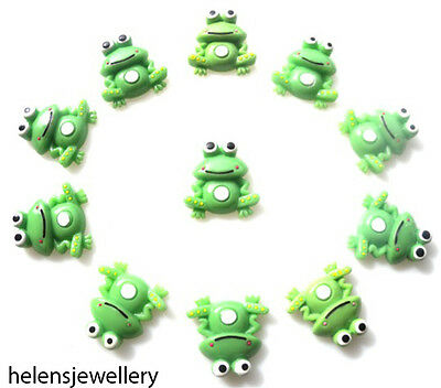 10 FROGS FLATBACK CABOCHONS KAWAII DECODEN - FAST SHIPPING