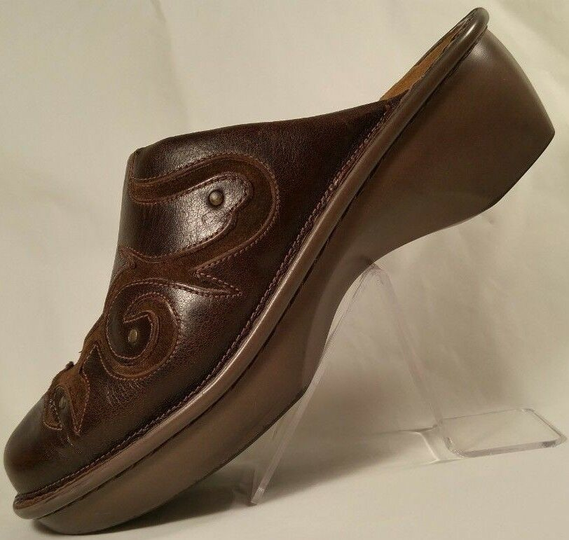 Naot Naot Naot Marrón Cuero recargado resbalón en la diapositiva mula Obstruir Zapato Mujer Confort 38 7 - 7.5  mas preferencial