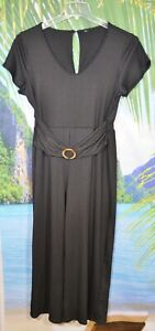 EMVIE'S FASHIONS Black Ribbed Stretch Jumpsuit XL Short Sleeves Ruched Waistband