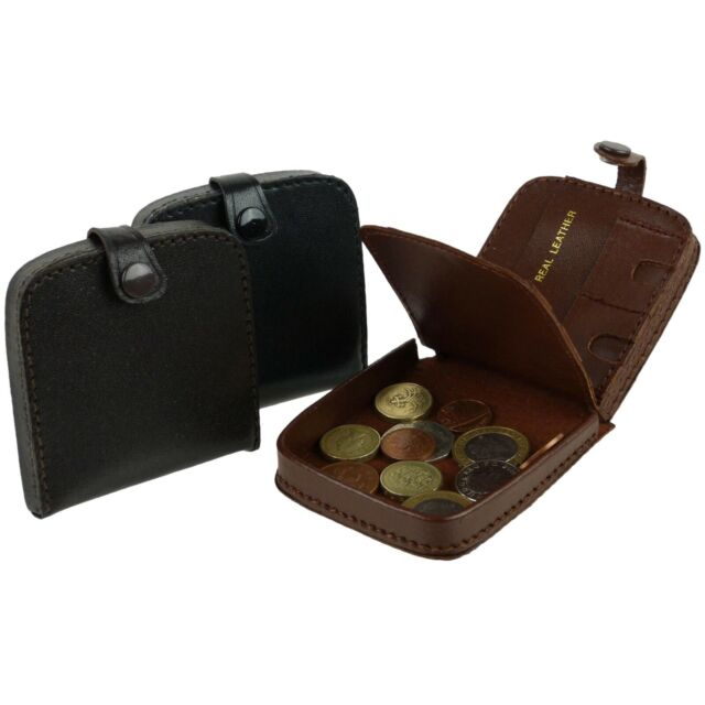 NEW Mens  Leather Coin Tray Change Wallet Purse Square Large in Black or Brown