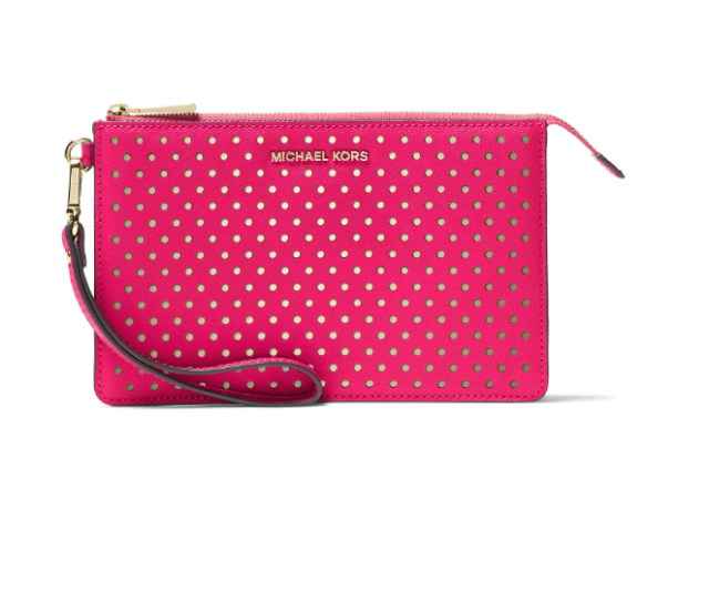 cf9d08a19d71 NWT Michael Kors Perforated Medium Gusset Leather Wristlet Ultra Pink  w GoldTone
