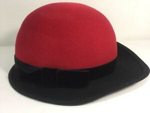 0cd77b73bc54d Geo W Bollman RED Ladies VTG Hat Doeskin Felt 100% Wool Black Velvet ...