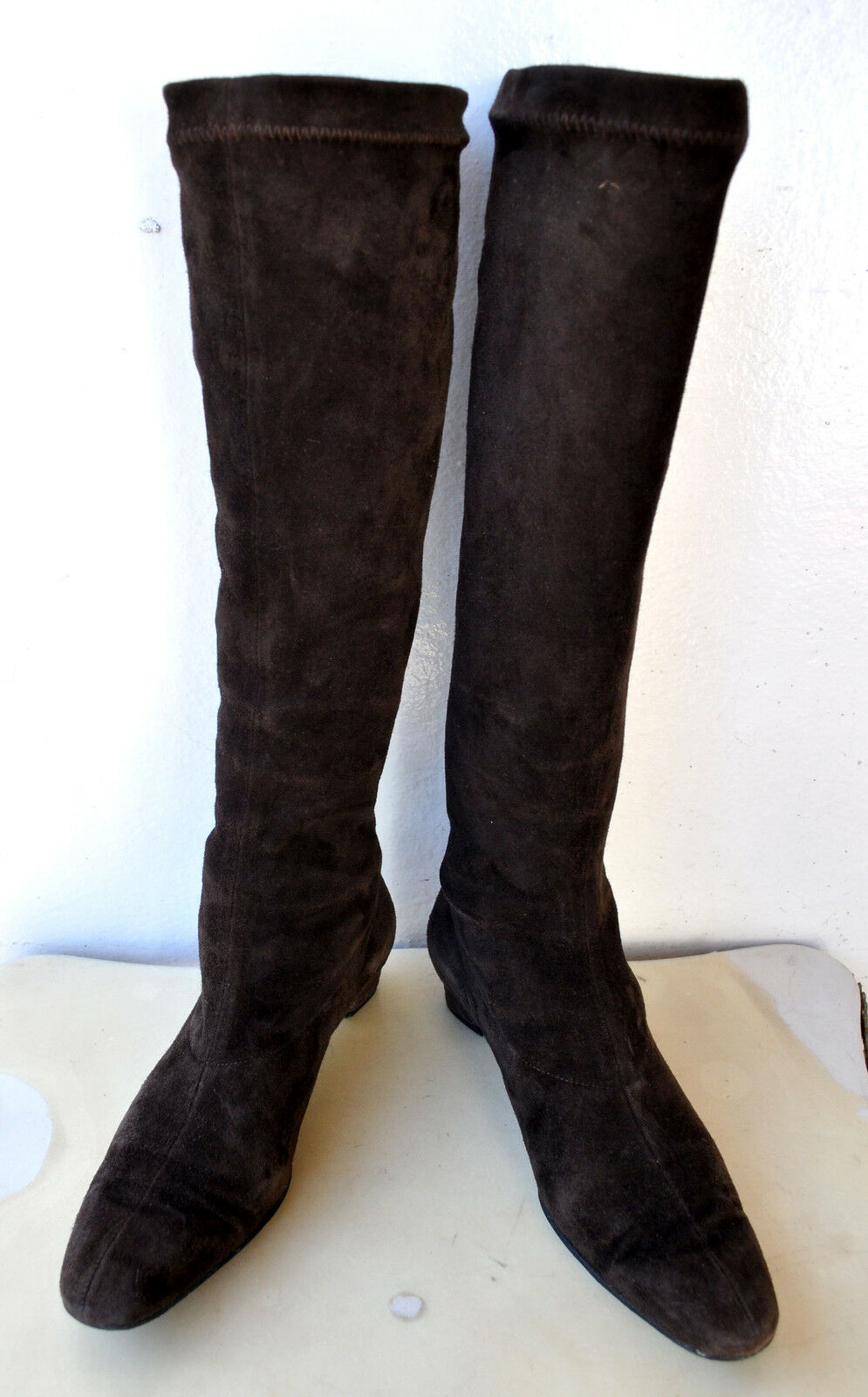 Robert Clergerie Knee High Stretch Suede Leather Boots Sz 6 Sold Out! RRP  1,050