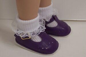 144e5d5ec3a30 Details about PURPLE Old Fashion T-Strap Tstrap Doll Shoes For Tonner 18