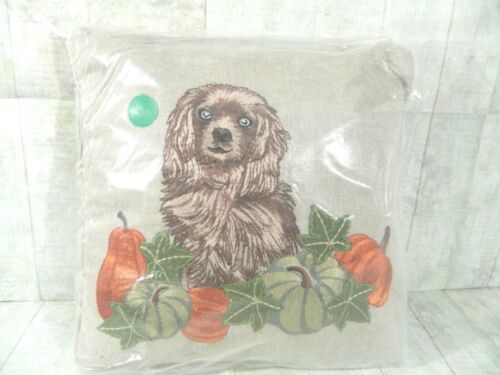 Pier 1 Imports Throw Pillow Mine Reggie The Spaniel Dog Pumpin Fall Natural New