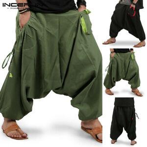 Men Harem Yoga Baggy Pants Joggers Ali Baba Loose Trousers Bottons Slacks Casual
