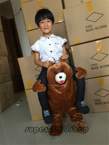 Teddy Bear  Mascot Costume Suits Carry Ride on Me Dress Adult Kids Halloween New