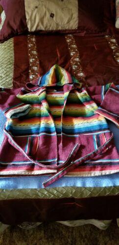 Vintage Mexican Serape Poncho Blanket Jacket Hippi